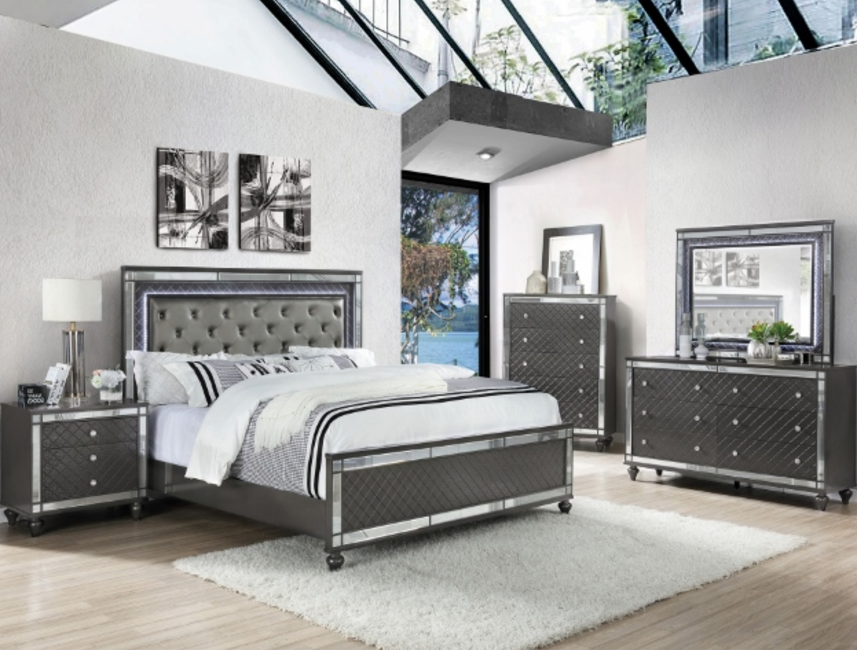 B1670 L.E.D. LIGHT UP BED FRAME WITH MIRRORS