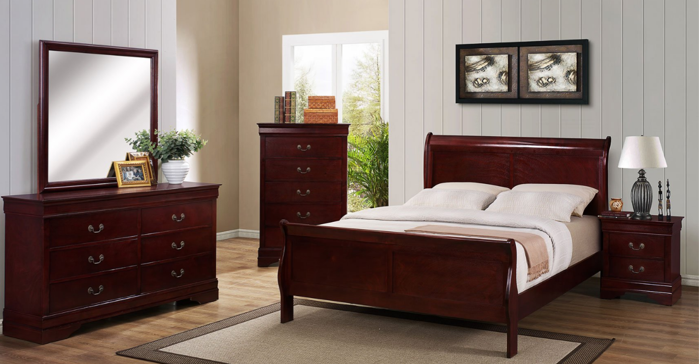 B3800 Queen Cherry Sleigh Bedroom Set