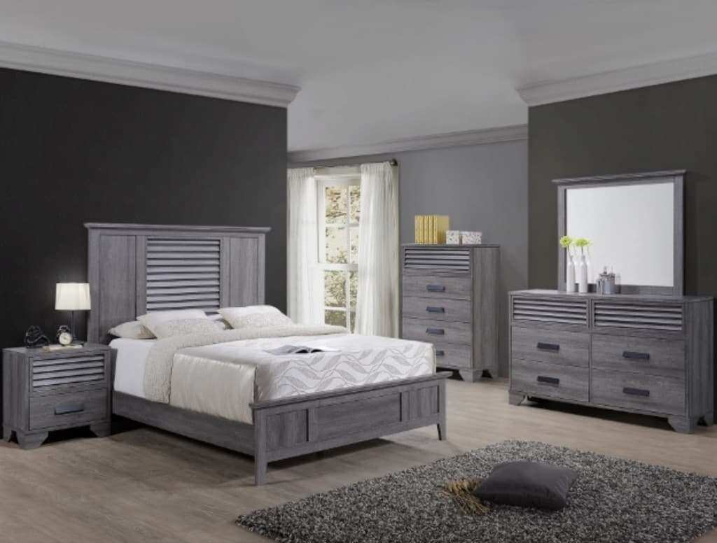 b4760 Light Gray Shutter Farm Door Style Bedroom Set