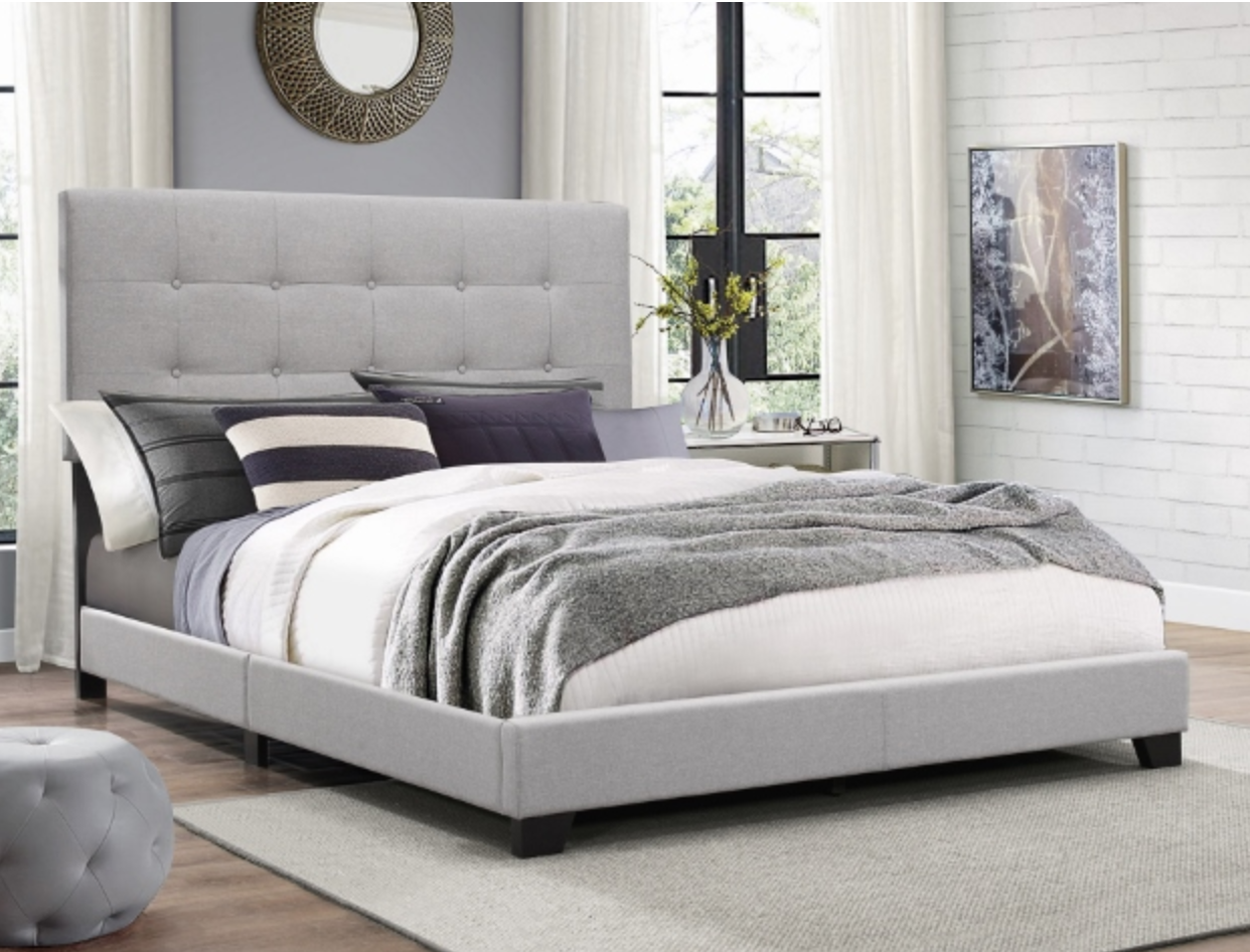 Gray Upholstery King Bed Frame