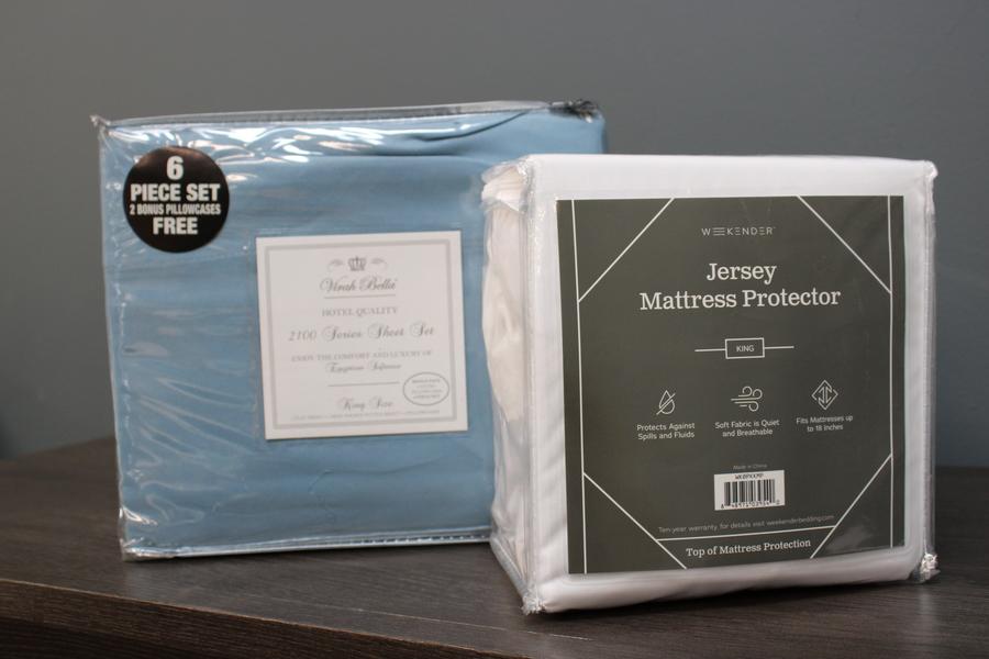 king bundle mattress protector and sheet set
