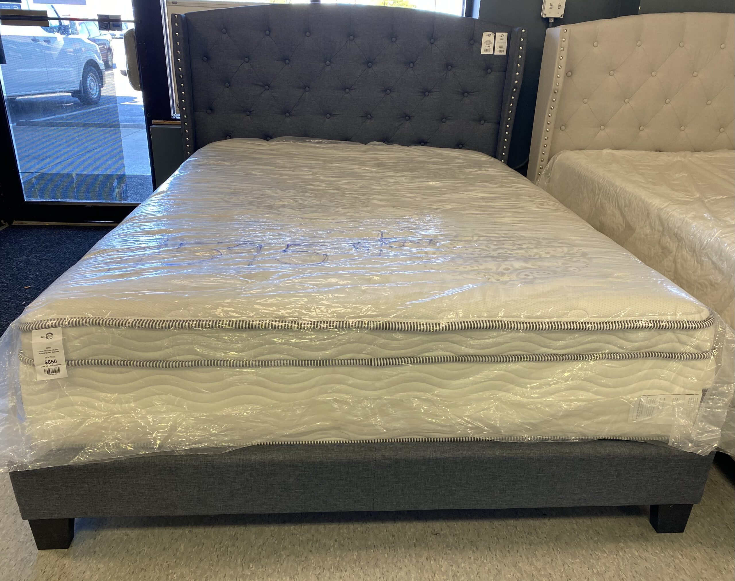 Full Gray Upholstery Platform Bed Frame