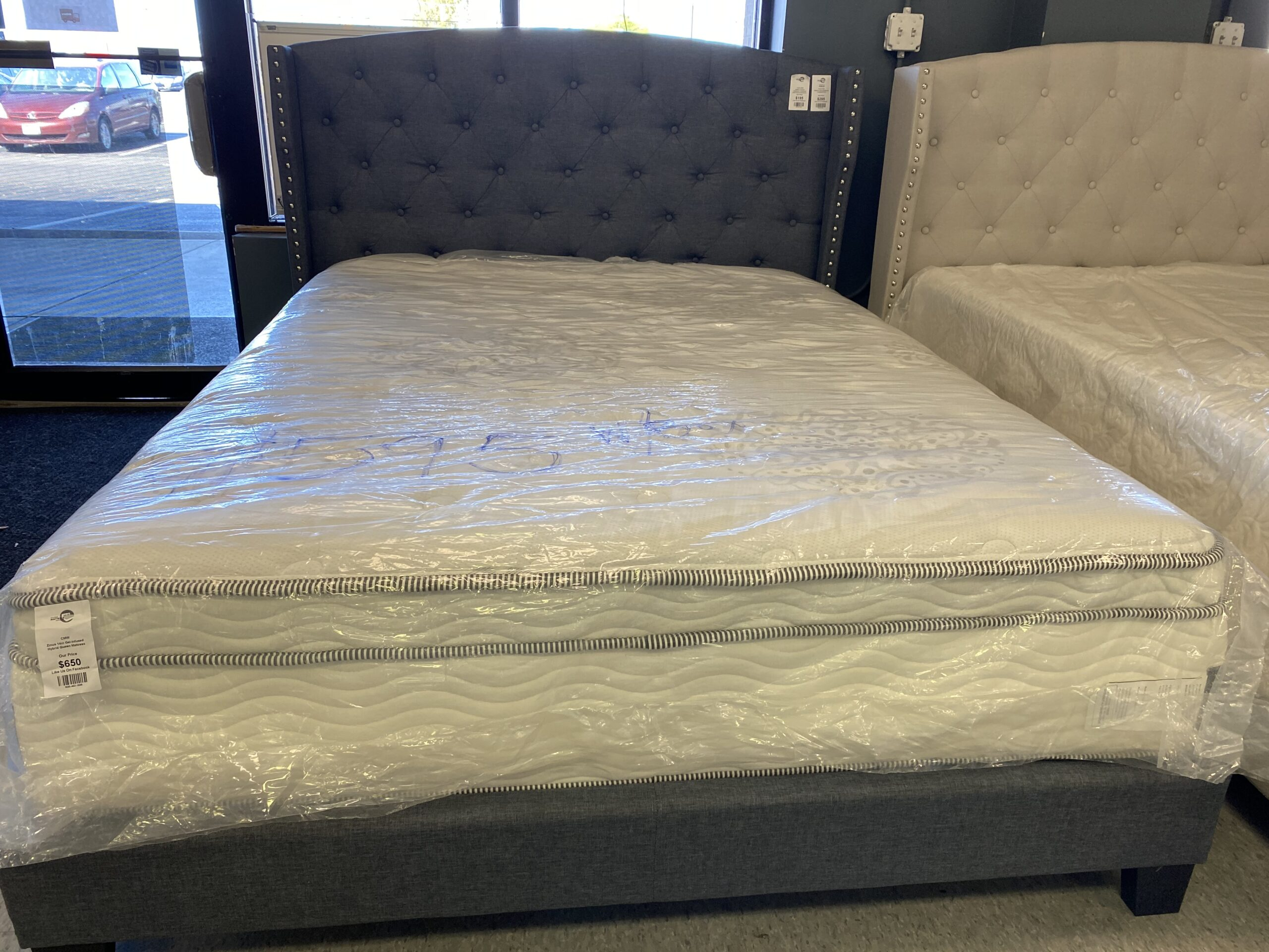 Queen Gray Upholstery Platform Bed Frame