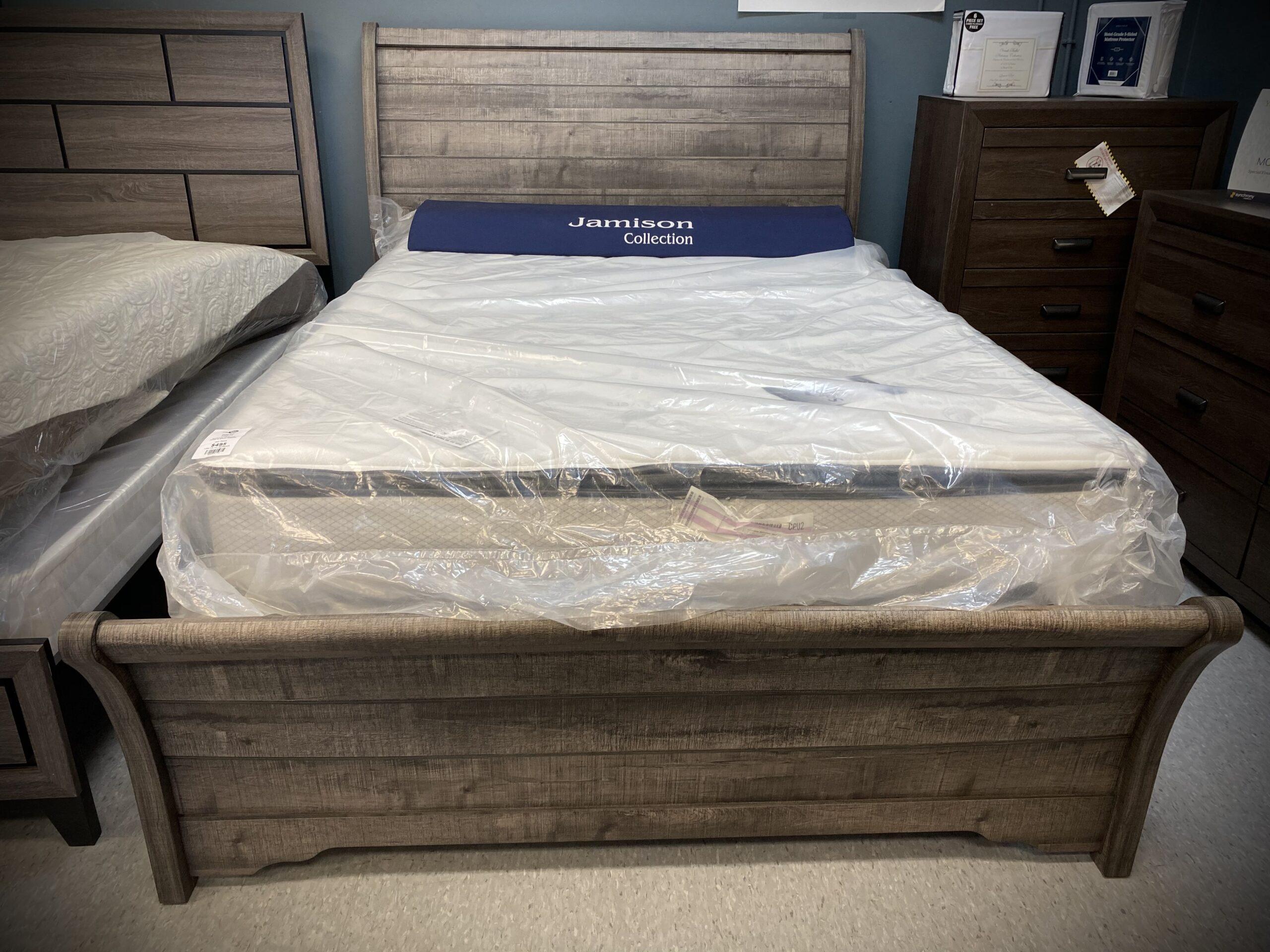 Gray Rustic Sleigh Bed Queen